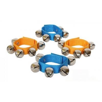 Glockenrassel für Hand oder Fußgelenk in Orange und Blau