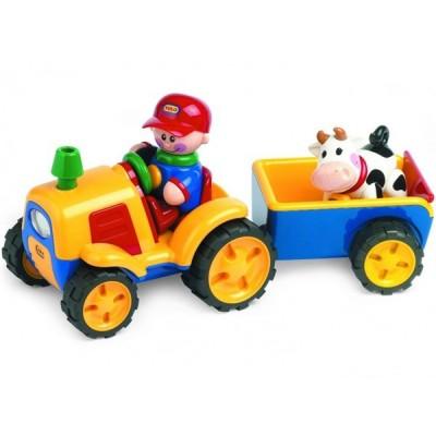 Adaptiertes Spielzeug - Traktor mit Kuhanhänger